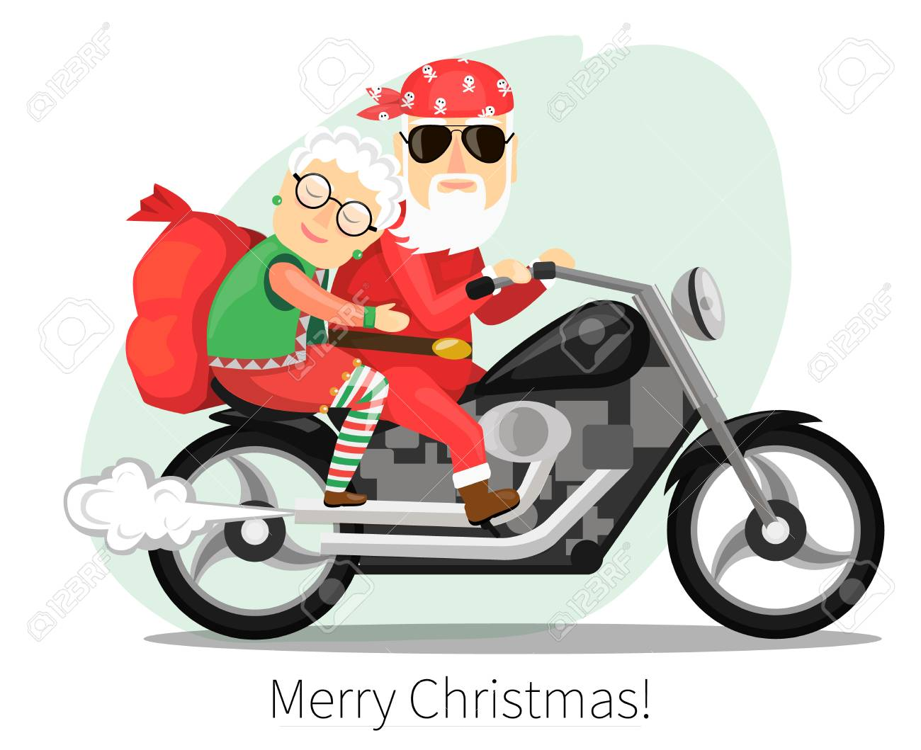 Santa Claus and Mrs. riding on a steep motorcycle.