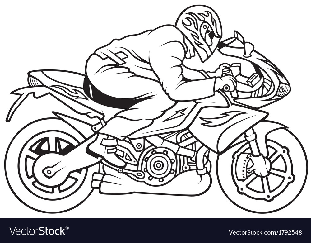 Motorcycle black and white motorcycle racing free vector.