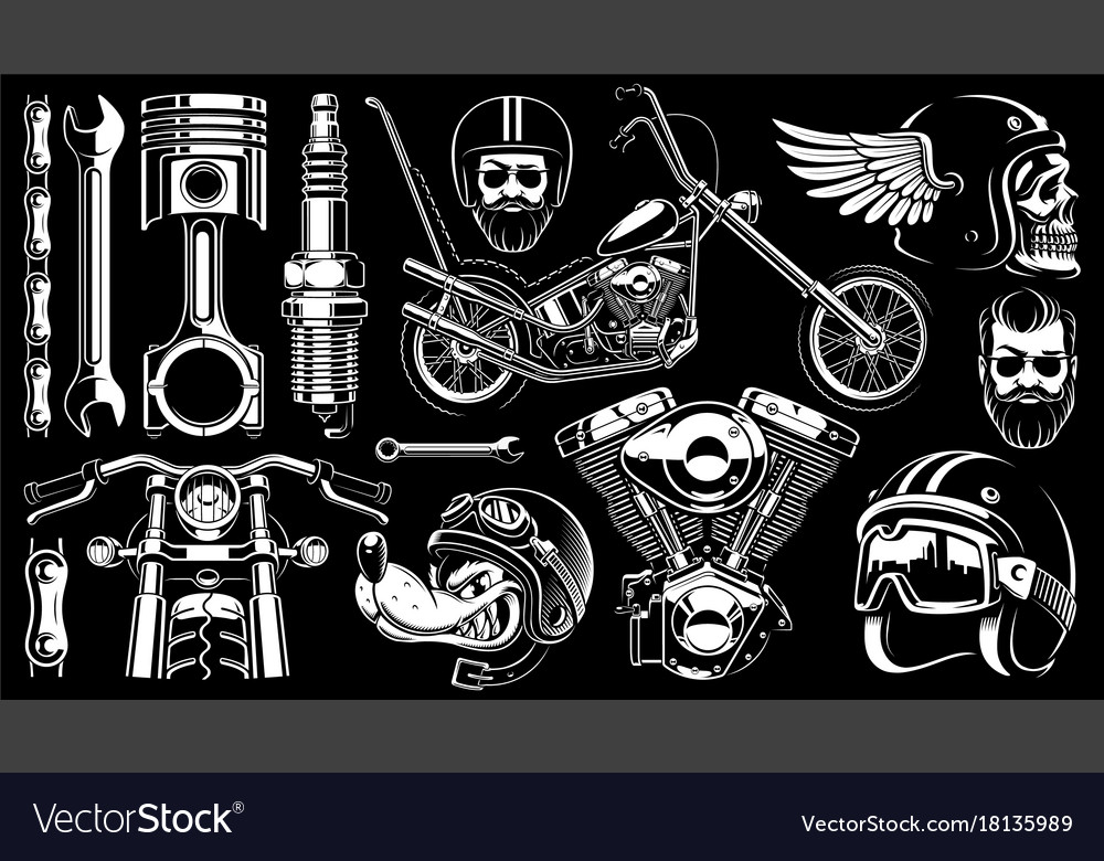 Motorcycle clipart with 14 elements on dark.