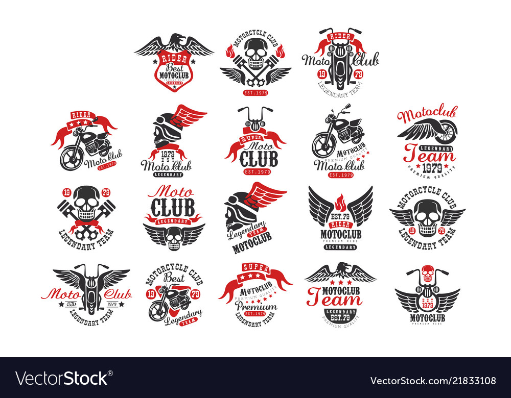 Set of vintage motorcycle club logos emblems.
