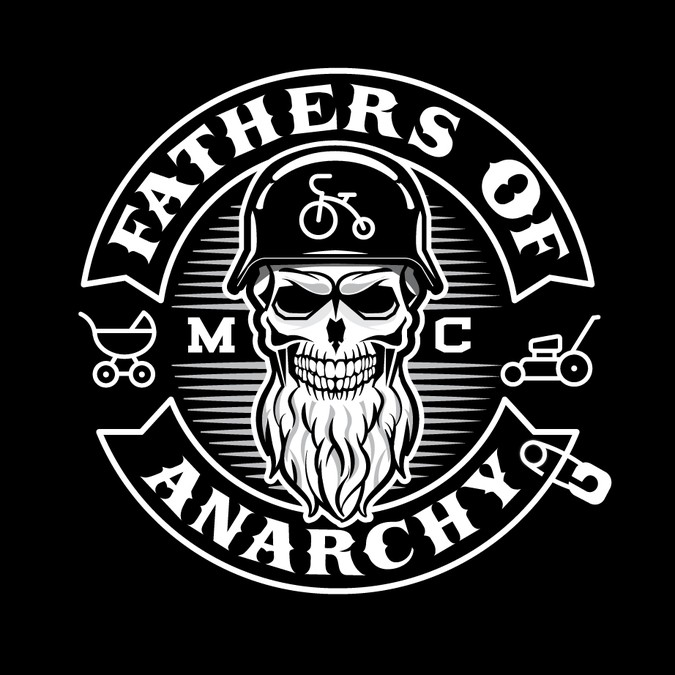 Create a tough looking motorcycle club logo out of items a.