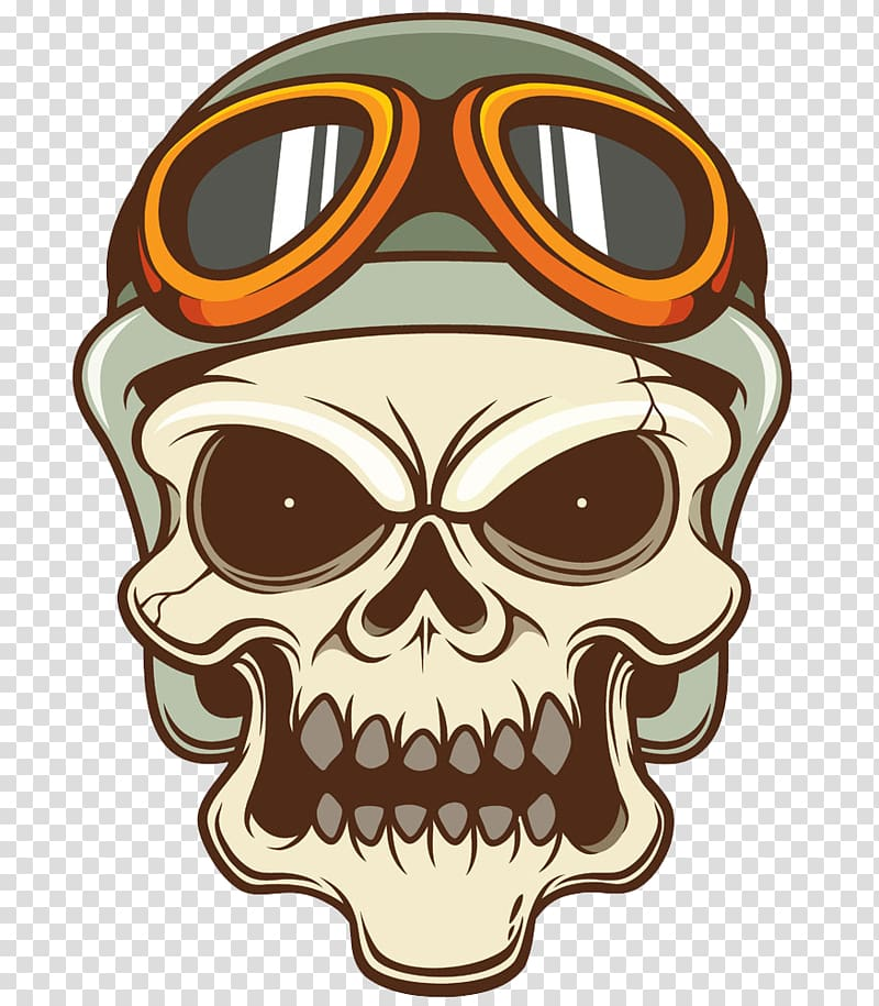 Beige and green skull with goggles illustration, Motorcycle.