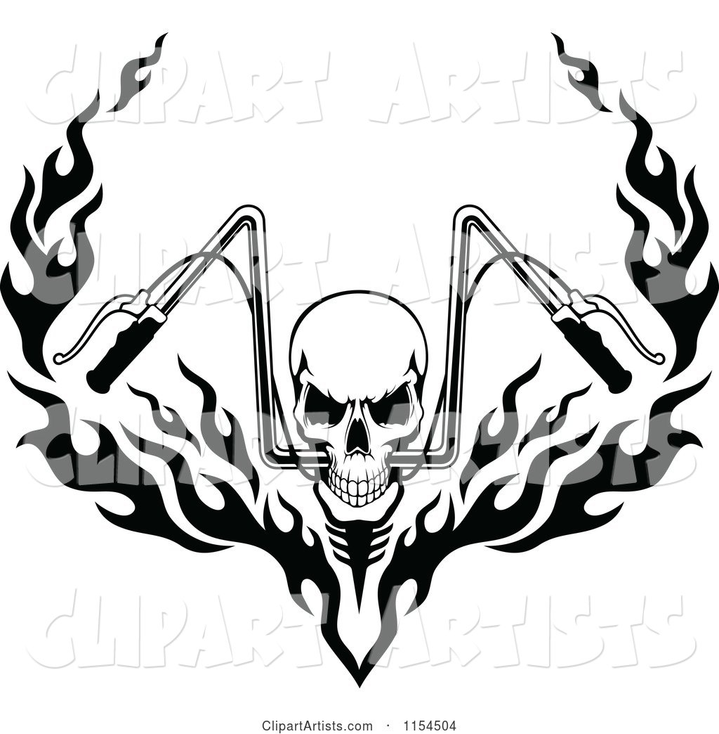 Black and White Skull with Flaming Motorcycle Handlebars.