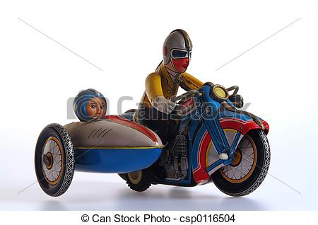 Stock Photo of Tin Toy Motorcycle and Sidecar.