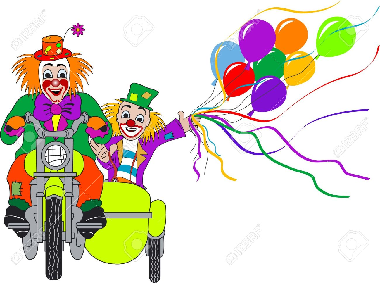 Two Clowns On Motorcycle With Sidecar Stock Photo, Picture And.