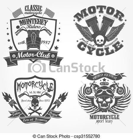 Vector of Motorcycle label set, motor shop print logo, riders team.