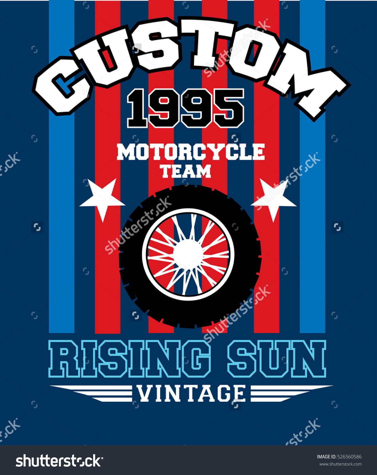 Custom Motorcycle Teamtshirt Print Poster Vector Stock Vector.