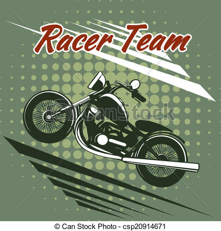 Vectors Illustration of Classic motorcycle race team design on.
