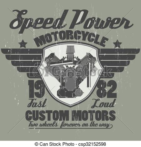 EPS Vectors of Motorcycle engine, riders team emblem graphic.