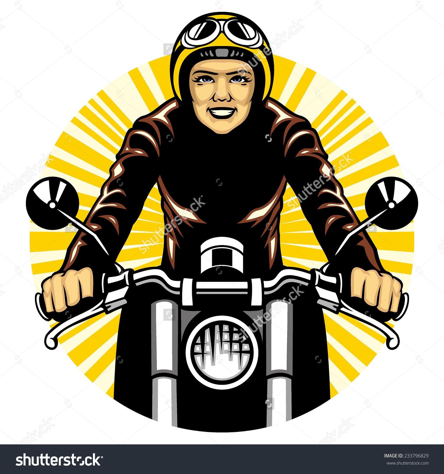 Woman Ride Motorcycle Stock Vector 233796829.