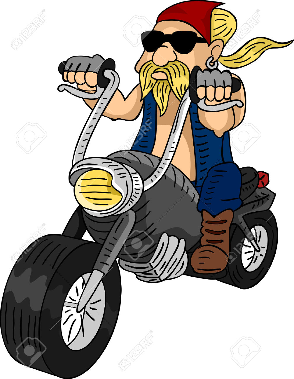Illustration Of A Bearded Man Riding A Customized Motorcycle Stock.