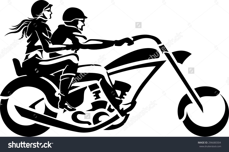 Motorcycle Chopper Couple Ride Stock Vector 296680304.