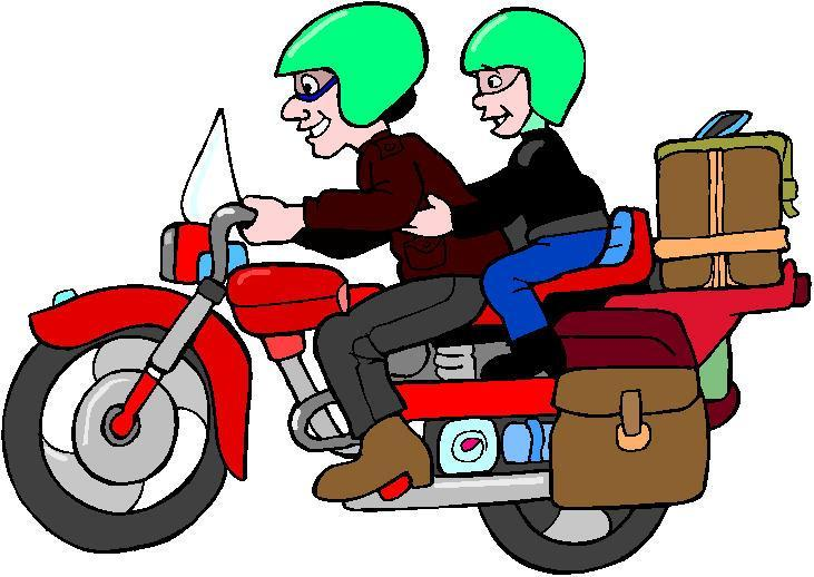 Motorcycle on road clipart.