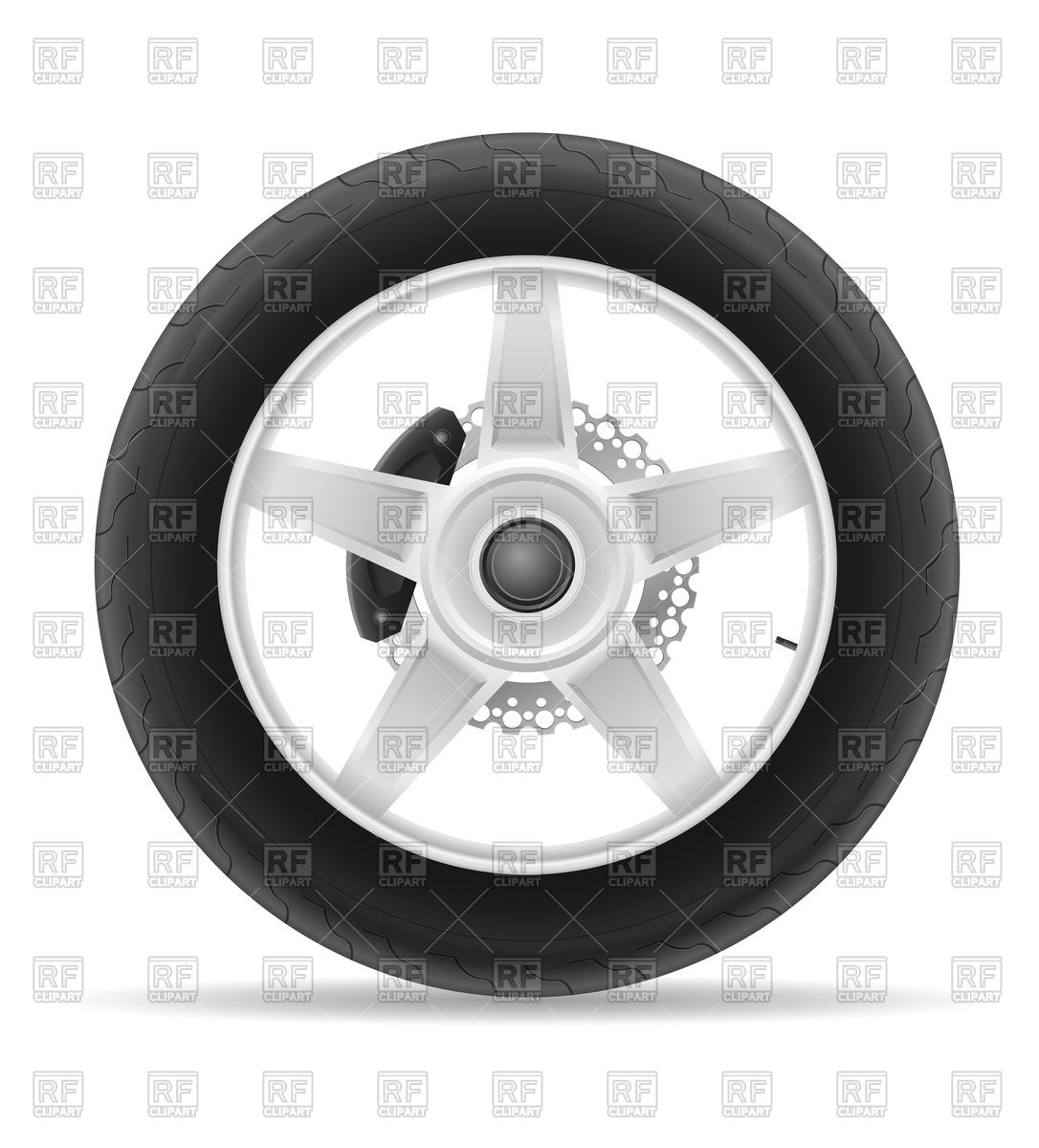 Motorcycle wheel tire with brake block Stock Vector Image.