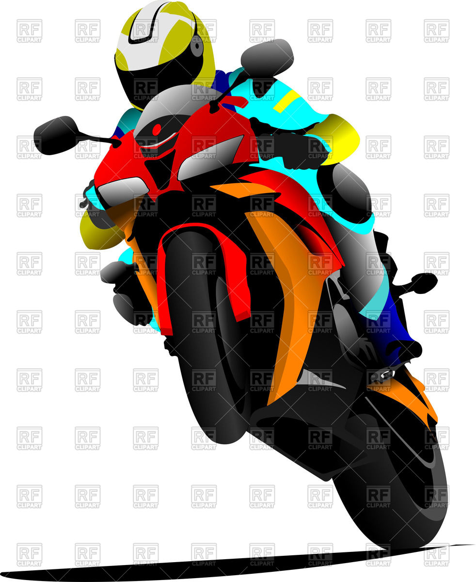 Motorcyclist riding on a back wheel on sport bike Vector Image.