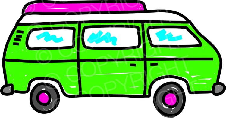 Green Cartoon Campervan Motorhome Prawny Transport Clip Art.