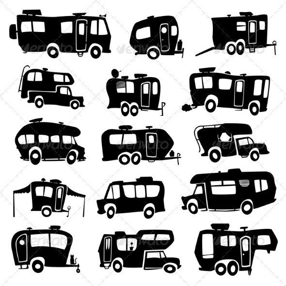 Recreational Vehicles Icons.