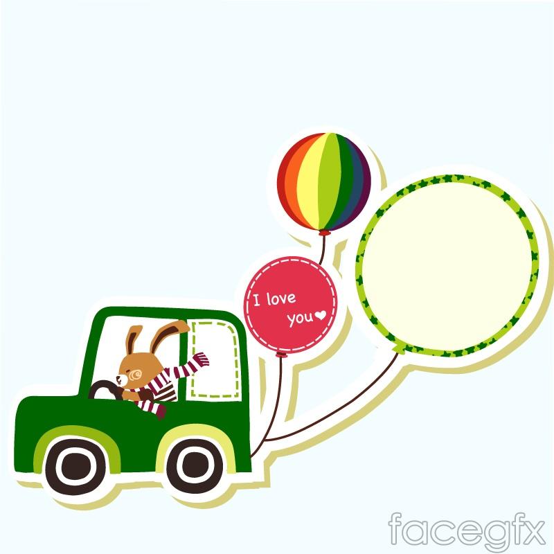 Motoring rabbit clipart vector.