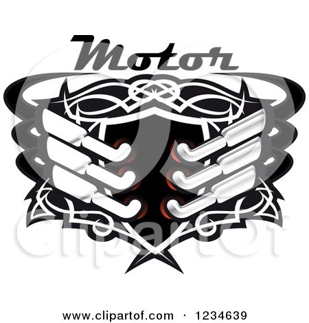 Clipart of a Motor Text over a Black Shield with Tribal Designs.
