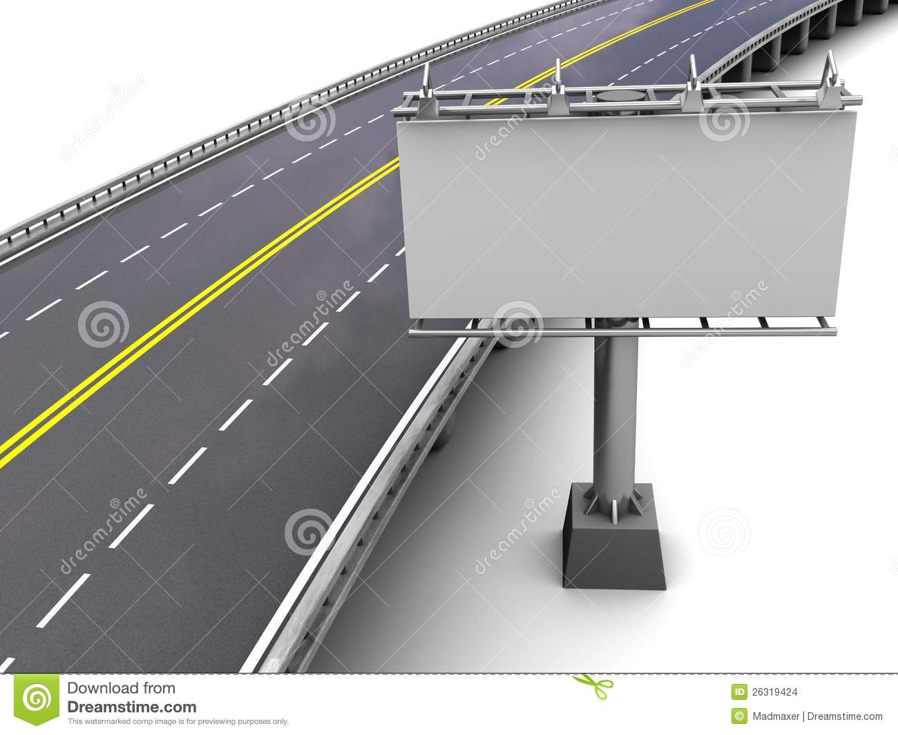 Motorway With Billboard Stock Images.