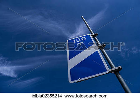 "Stock Photo of ""Sign with one stripe indicating a motorway exit."