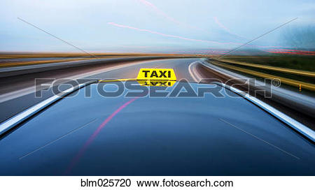 Stock Photography of Taxi cab on motorway exit ramp blm025720.
