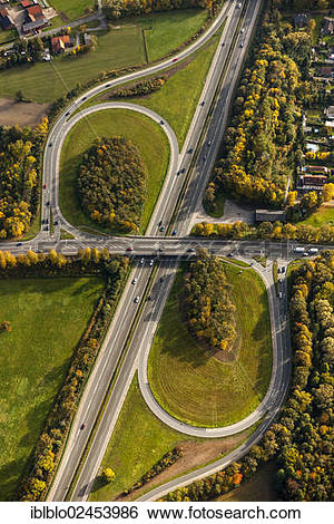"Stock Images of ""Aerial view, A1 motorway, exit Bergkamen Werne."