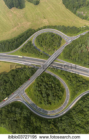 "Stock Image of ""Aerial view, Querspange motorway exits, A43."