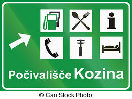 Drawing of Slovenian service road sign.