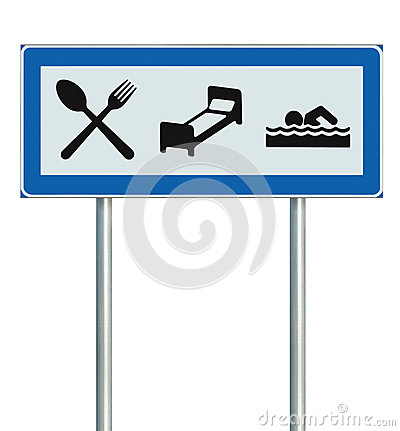 Parking Lot Road Sign Isolated Restaurant Hotel Stock Photos.