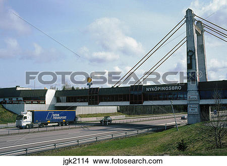 Stock Photo of A combined rest area, restaurant, bridge, that.