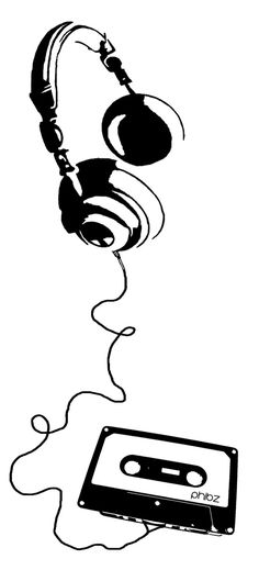 Headphone Love Wire Wall Art Decal.
