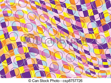 Clip Art Vector of Mottled background of colored squar.