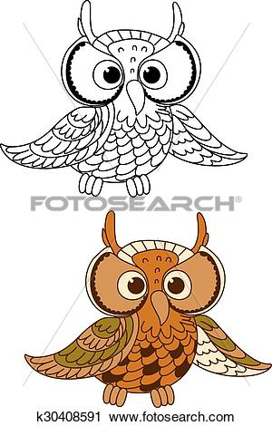Clipart of Horned owl bird with mottled brown plumage k30408591.