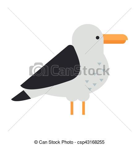 Vecteur Clipart de grand, vecteur, mouette, oiseau.