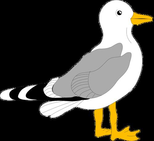 Dessin de mouette avec plumes gris.