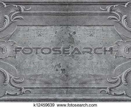 Stock Photograph of Weathered wall with plaster mouldings.