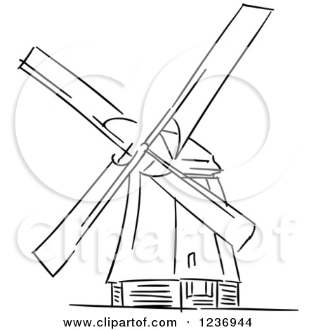 Clipart of a Black and White Sketched Moulin Rouge Windmill.