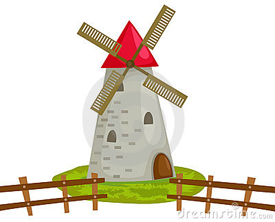 Dutch Windmill Isolated Stock Illustrations.