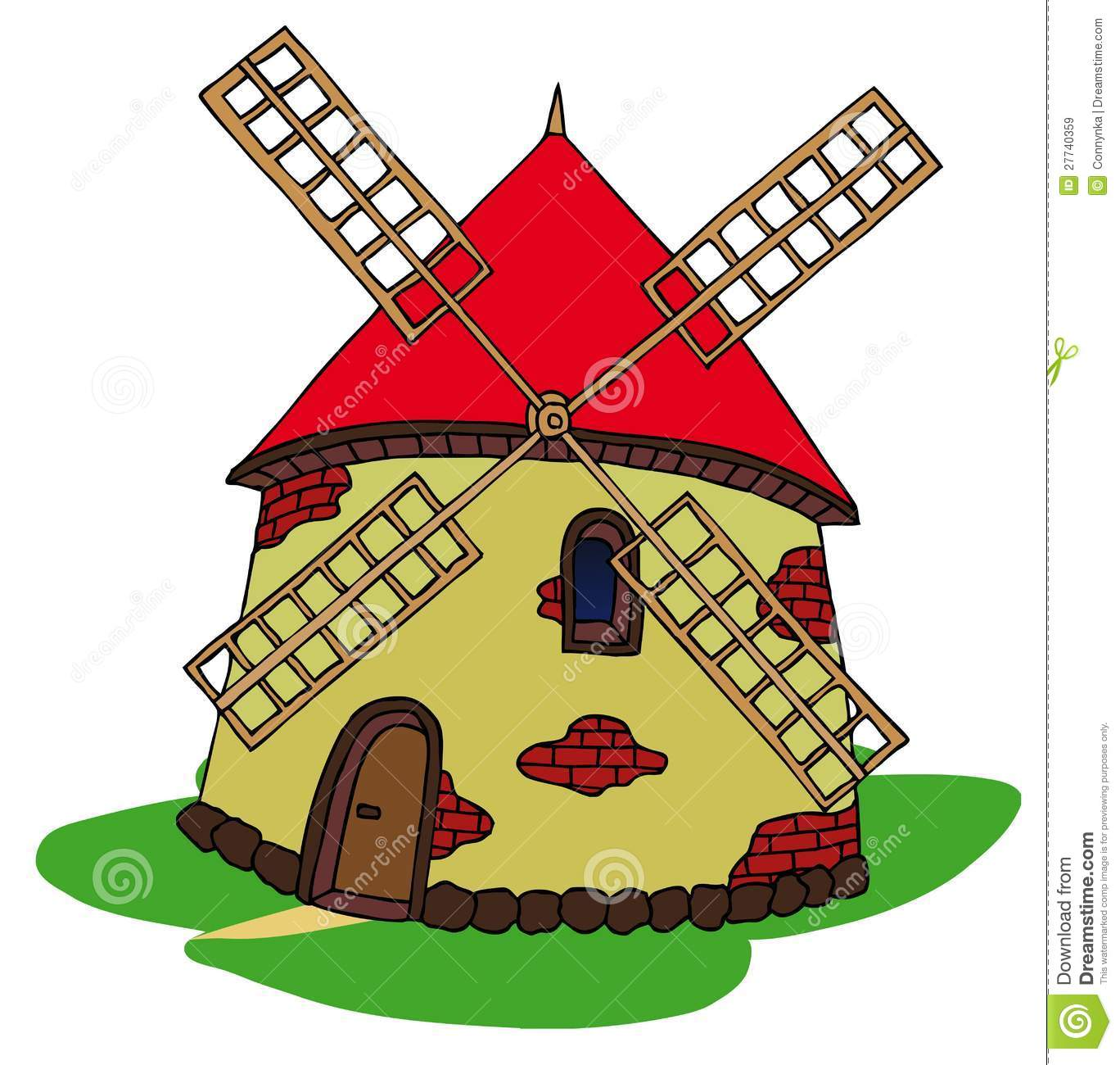 Windmill Cartoon Vector Clipart Stock Vector.