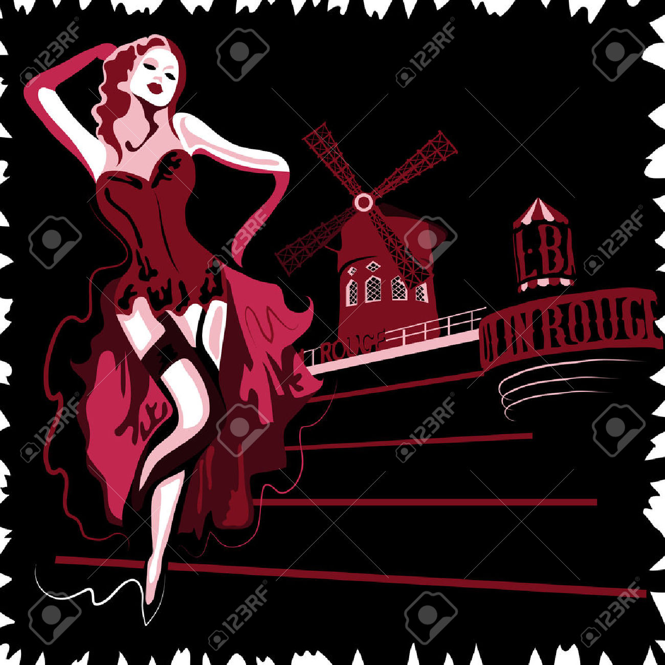 530 Moulin Rouge Stock Vector Illustration And Royalty Free Moulin.