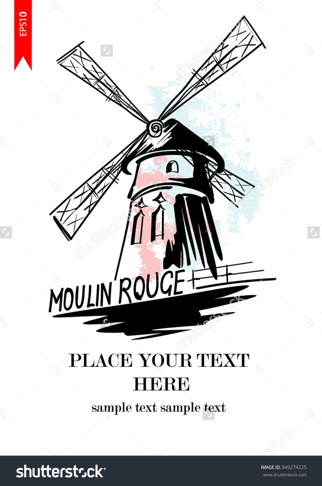 Vector Hand Drawn Sketch Cabaret Moulin Stock Vector 349274225.