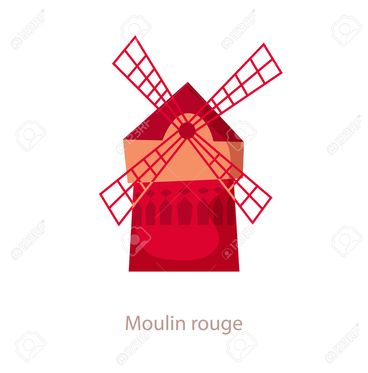 Moulin Rouge. Paris Landmark. Travel Flat Illustration. France.