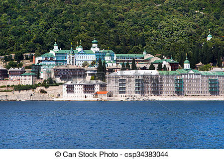 Stock Photo of Russian St. Panteleimon Orthodox monastery at Mount.