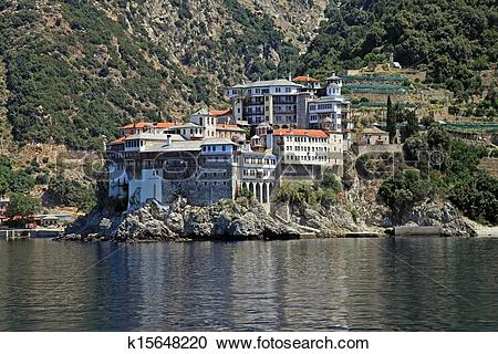 Stock Photography of Gregoriou monastery,Mount Athos , Halkidiki.