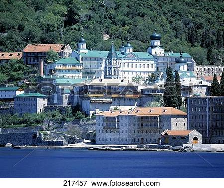 Picture of Buildings at waterfront, Mount Athos, Halkidiki, Greece.