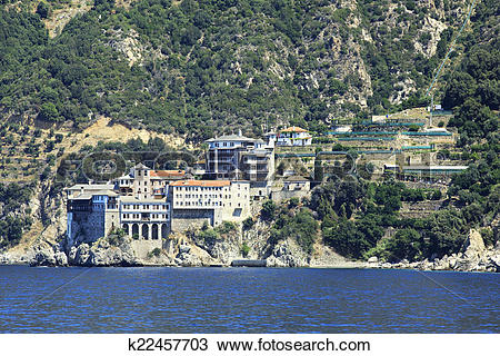 Stock Photo of Osiou Grigoriou (Gregory's) monastery. Holy Mount.