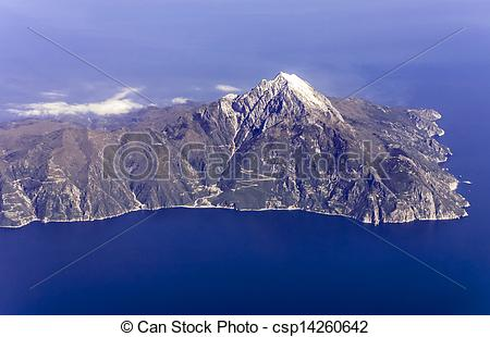 Stock Photo of Mount Athos, Greece, aerial view.