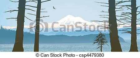Vector Clipart of Mount Baker, Washington State panoramic. Looking.