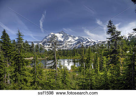 Pictures of Mount Shuksan, a majestic peak in the Mount Baker.